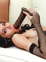 Kinky hung tranny sucks and fucks toys