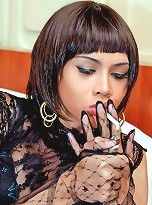 Demanding domme ladyboy sucks on her cigarette