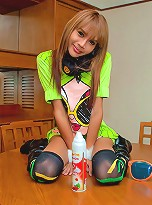 Playful dick-girl going crazy in her funky outfit