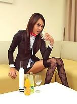 Long Mint fucks her tight ass with a long bottle