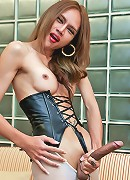 Your favourite hung ladyboy spunks her cock