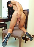 Tempting ladyboy wanking her long hard cock