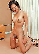 Stunning tanned ladyboy jerks off her dick