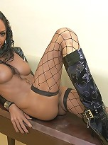 Tranny fucks her juicy ass with a huge rubber cock