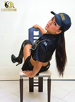 Beautiful police officer Amy shows of her weapon