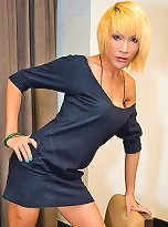 Blonde ladyboy Natalie showing her smashing assets