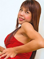 Asian tranny Annie taking off her sexy red outfit