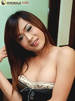 Young nervous ladyboy strokes her long cock
