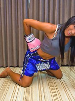 Horny shemale Janeth beating meat in boxing gloves