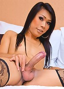 Stockinged Asian t-girl May boasts her big hard-on