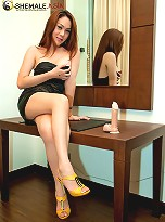 Ladyboy Tong in a little black dress by the mirror