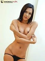 Dark sexy ladyboy unloads her feminine cock