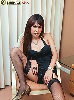 Hot ladyboy Pam jerks off for cam