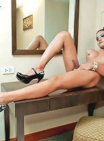 Jerking Ladyboy Mei is muscular and sexy