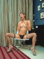 Kinky shemale parts her legs revealing a big boner