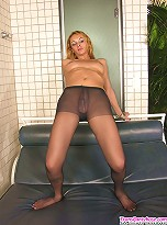 Curvaceous shemale taking her throbbing cock out of control top pantyhose