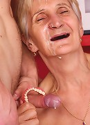 Wrinkled grandma Irene strips off in front of a younger guy to lure him into fucking her cooter