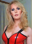British shemale in hot red latex
