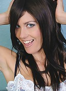 Dark haired fox Chloe strip out of her bra and panties.
