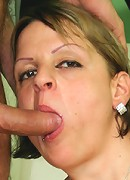 Busty mature housewife titfucks!