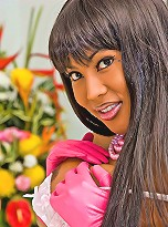 Charming tranny prefers pink flowers and toys