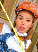 Curvaceous ladyboy getting hot at a building site