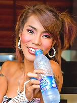 Hot in the ass ladyboy inserting an ice-cold dildo