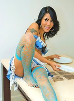 Tranny-maid in a revealing uniform serves hot meal