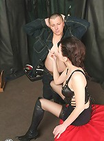 Kinky Mistress trains pantyhosed shemale