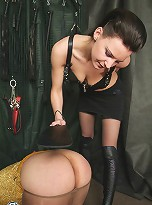 Horny x-dresser in tights humiliated and pounded by cruel Mistress