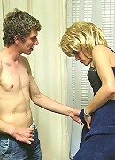 Horny hunk assfucking a crossdressed blonde in nylons