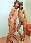 See young Thai tranny wanking wildly