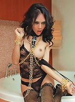 Horse cock ladyboy in chains and collar