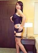 Tempting t-girl Ayumi clad in sexy black underwear