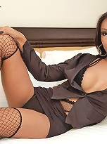 Lingerie laced Asian tranny soaked in her sperm