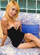 Asian blonde tranny Aum working her mighty pecker