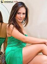 Dazzling ladyboy Angie in a strapless silky dress