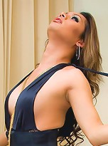 Dazzling ladyboy Benz in a long black evening gown