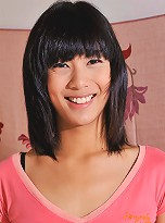 19 year old Bangkok ladyboy Oh\'s little denim shorts can\'t keep her secret inside for very long.