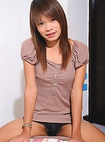 Natt looks like a shy Thai TGirl, but soon shows her wild side and her long cock!
