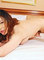Mizuki is 26 years old and from Nagoya. Wearing her black bra, panties, and garter belt, she\'s ready to do what she loves: torturing and topping men.
