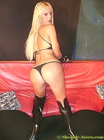 Hot blonde shemale bounces of thick hard cock