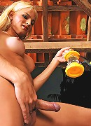 Gorgeous well hung blonde tranny babe