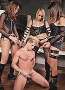 Submissive is bound and punished by ts dommes