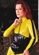 Joy Spears in kill bill yellow latex