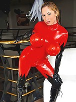 Wrapped like a christmas present in latex Sabrina is hot