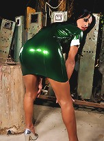 Nicolly looks so sexy in her electric green latex