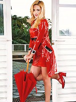 Stunning blonde tranny in red latex