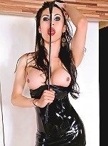 Suzuki showing off her body in black latex