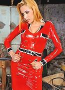 Samantha Ferraz in red latex uniform